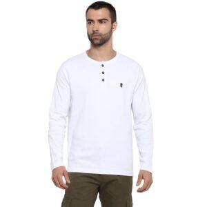 henley white full sleeve t shirt