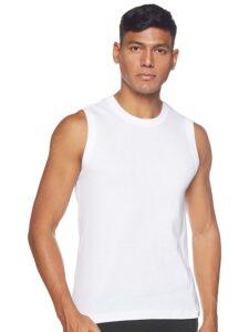 white sleevless t shirt